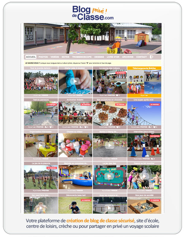 Blog de centre de loisirs : Facile à utiliser, sans inscription obligatoire pour les parents, vous pouvez partager un nombre illimité de photos, ainsi que des vidéos, sans prendre de risque pour le droit à l'image des enfants.