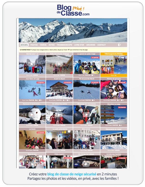 Blog pour partager des photos de voyage scolaire à la montagne : créez votre blog de classe de neige 100% privé
